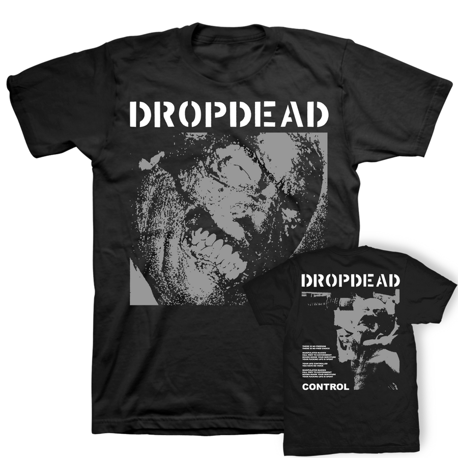 "DROPDEAD ""Burnt Face: Front & Back"" Black T-Shirt"