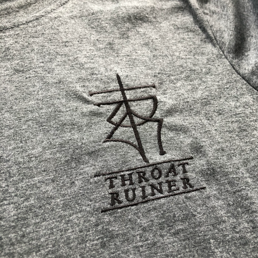 "THROATRUINER ""Logo"" Embroidered Dark Heather T-Shirt"