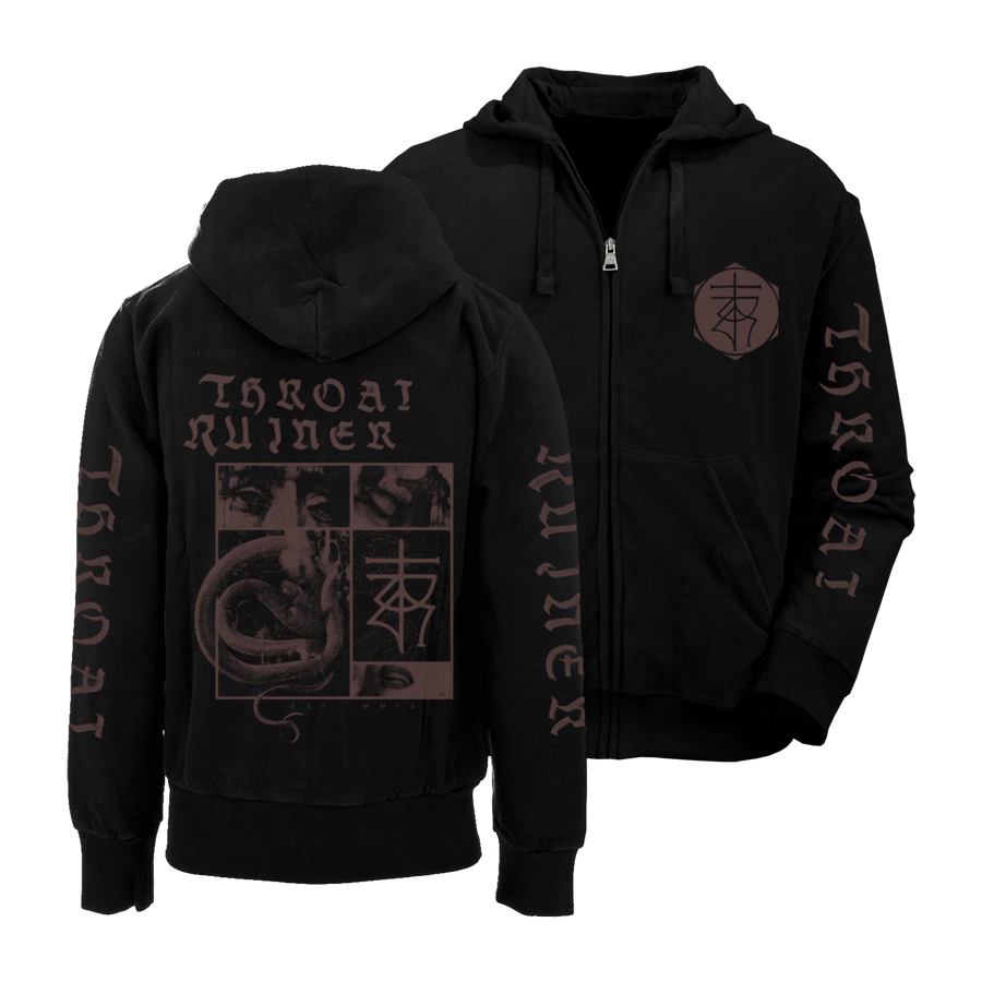 "THROATRUINER ""Snake"" Black Zip-Up Hoodie"