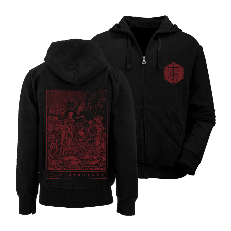 "THROATRUINER ""Totentanz"" Black Zip-Up Hoodie"