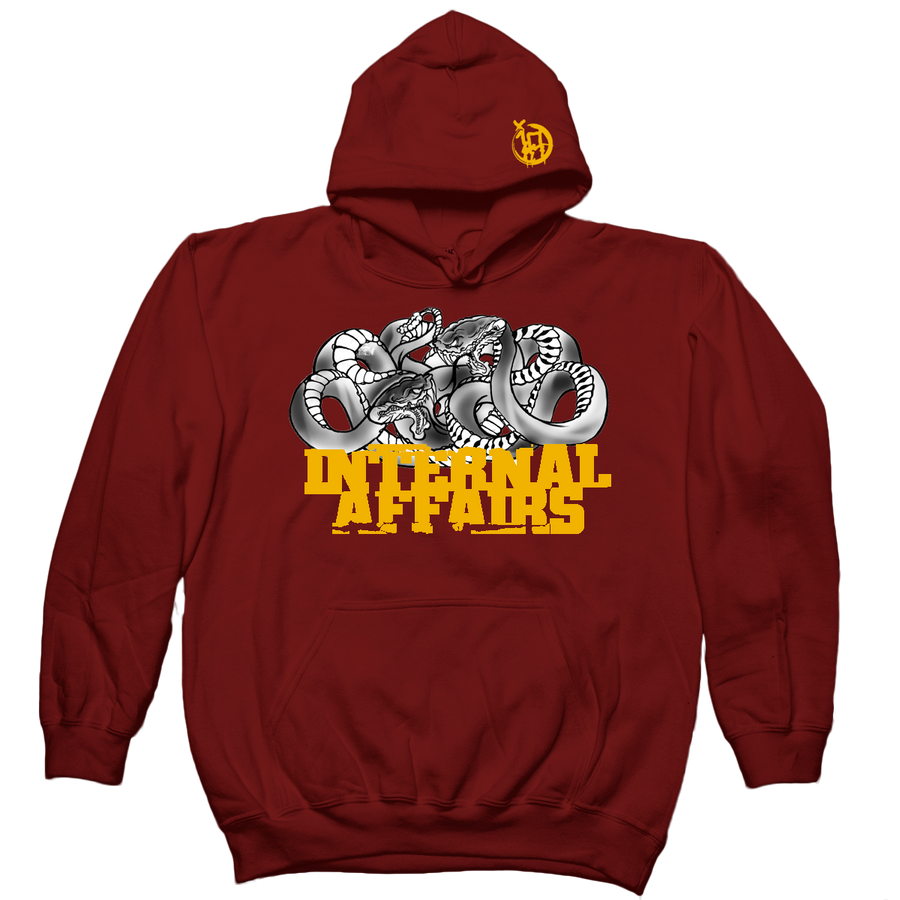 "INTERNAL AFFAIRS ""Snakes"" Maroon Hooded Sweatshirt"