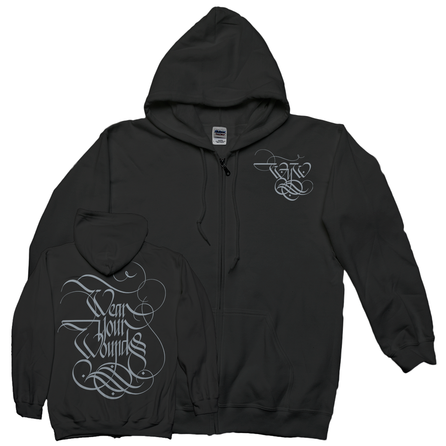 "WEAR YOUR WOUNDS ""Logo"" Zip-Up Sweatshirt-Deathwish Inc-Deathwish Inc Europe"