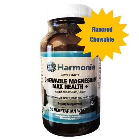 Chewable Magnesium Max Health +, Chelated Magnesium with Maximum Bioavailability