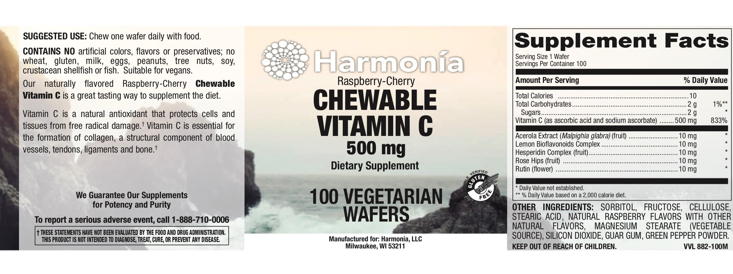 Chewable Vitamin C (Sweet & Tart Raspberry-Cherry) 500mg
