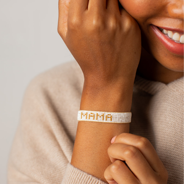Small White & Gold MAMA Bracelet
