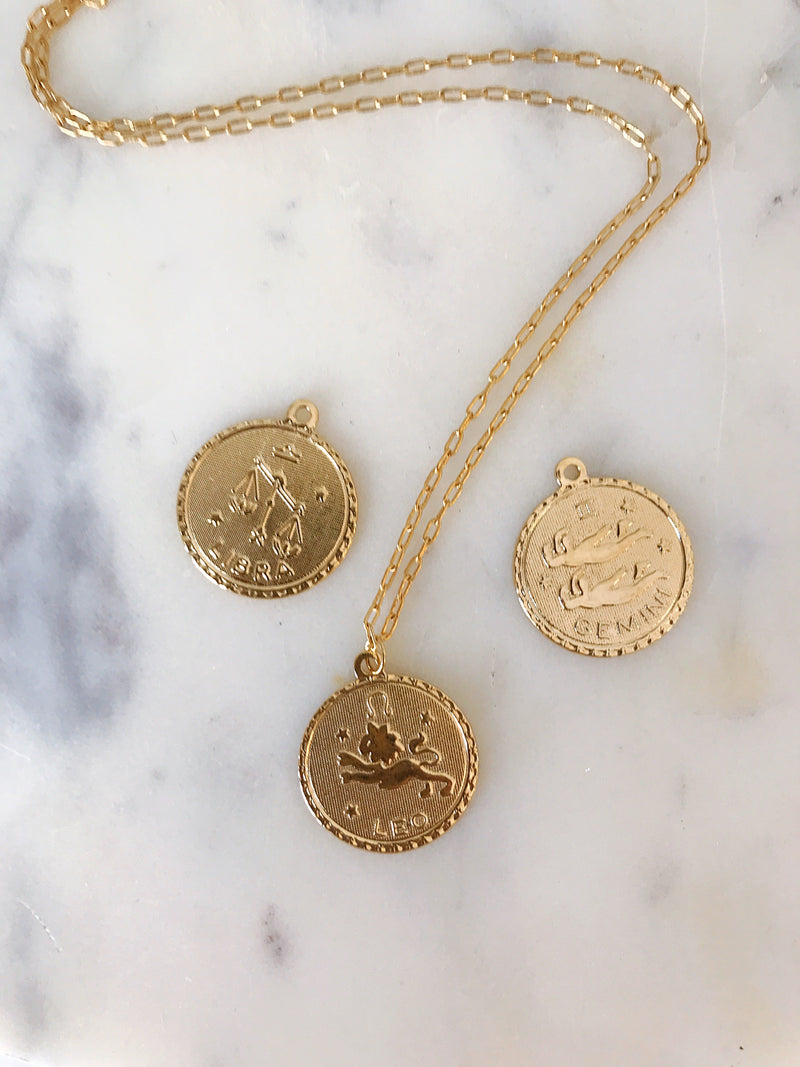 Pisces Zodiac Coin Necklace (Feb. 19 - Mar. 20)