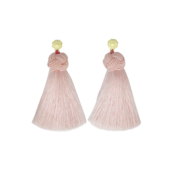 Hart blush pink tassel earrings on white background