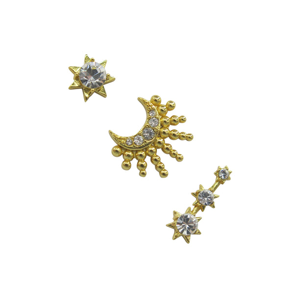 Hart celestial earrings pack of 3 on white background