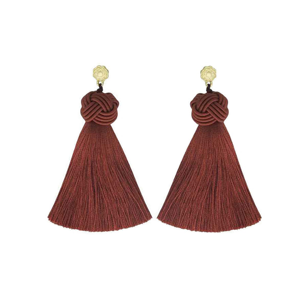 Hart cinnamon rose topknots tassel earrings on white background