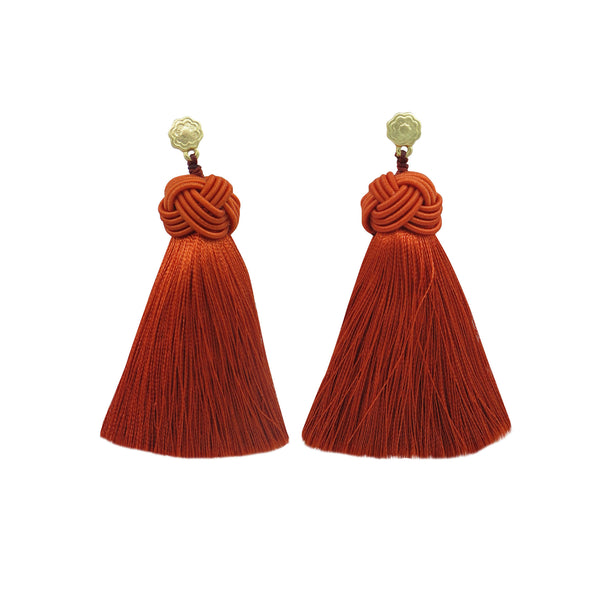 Hart Fuego tassel earrings on white background