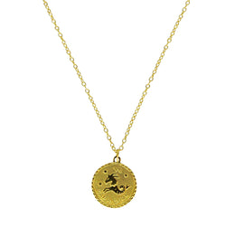 Capricorn Zodiac Coin Necklace (Dec. 22-Jan. 19)