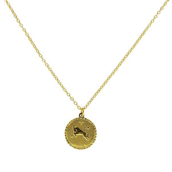 Aries Zodiac Coin Necklace (Mar. 21 - Apr. 19)