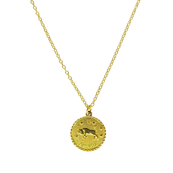 Taurus Zodiac Coin Necklace (Apr. 20 - May 20)