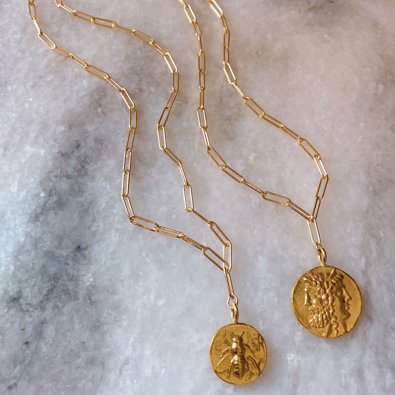 Ephesus Bee Coin On Long Link Chain