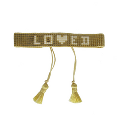 Gold 'Loved' Beaded Bracelet