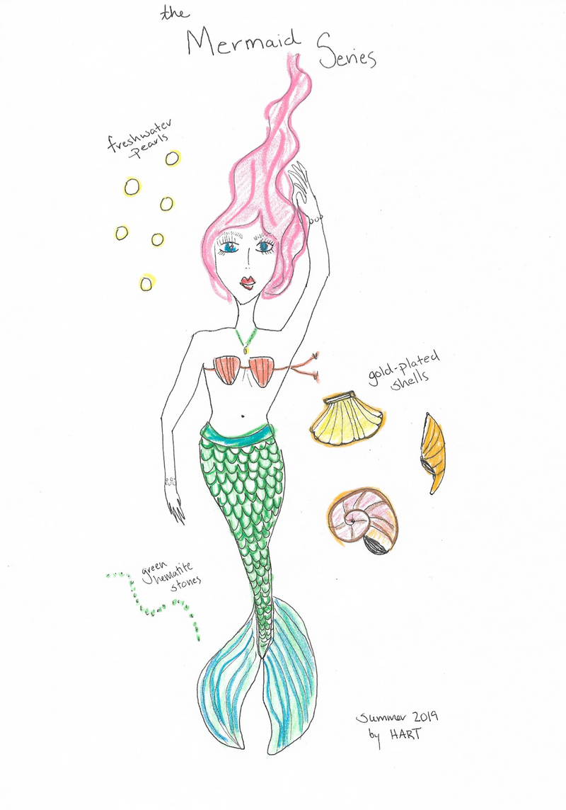 Hart Conch mermaid necklace drawing
