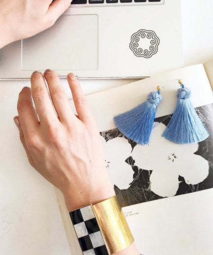 hart cornflower blue topknot tassel earrings