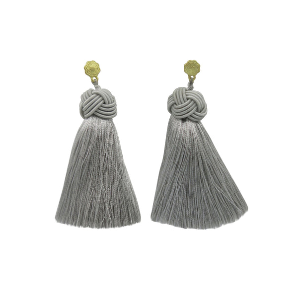 hart silver lining topknot tassel earrings on white background