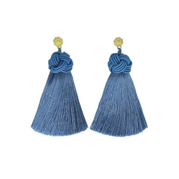 Hart sunny slate topknot tassel earrings on white background