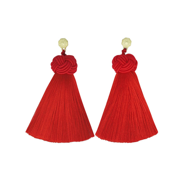 Hart perfect red topknot tassel earrings on white background