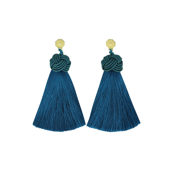 Hart Turquoise Topknot Tassel Earrings