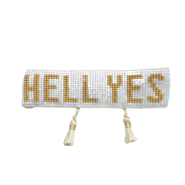 White & Gold Hell Yes Bracelet