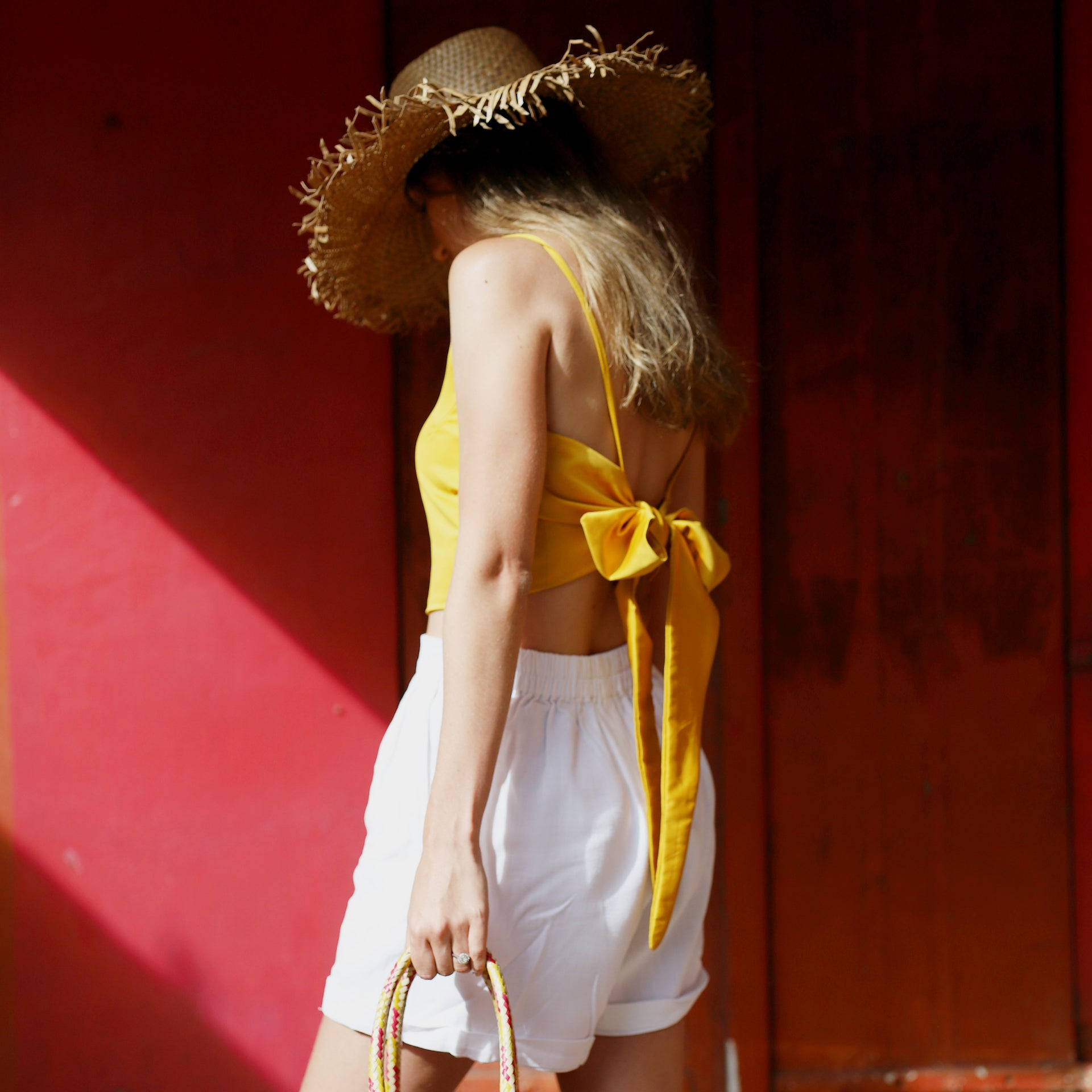 Calcite wrap top in Mustard