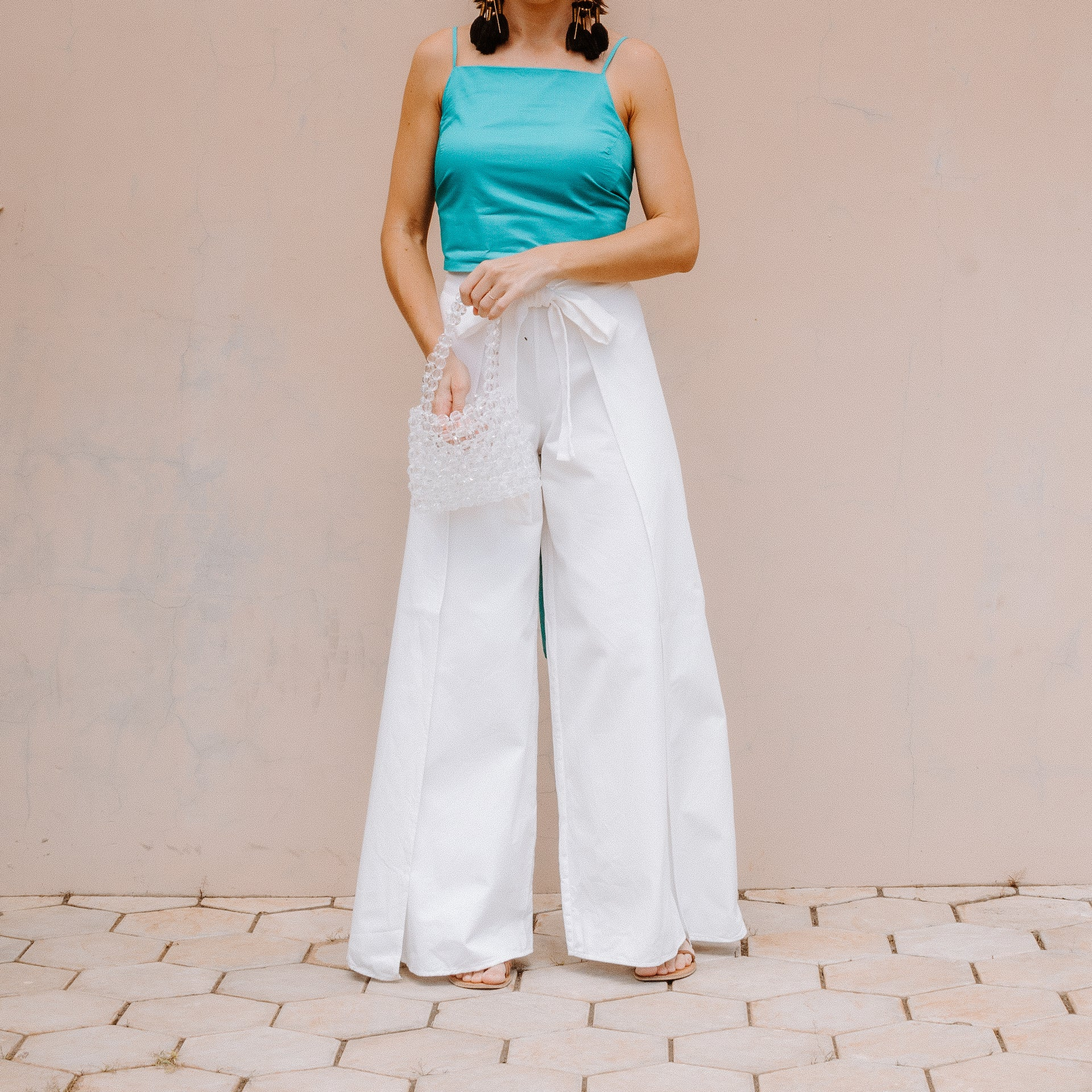 JUNIPER high waisted wrap trousers in White