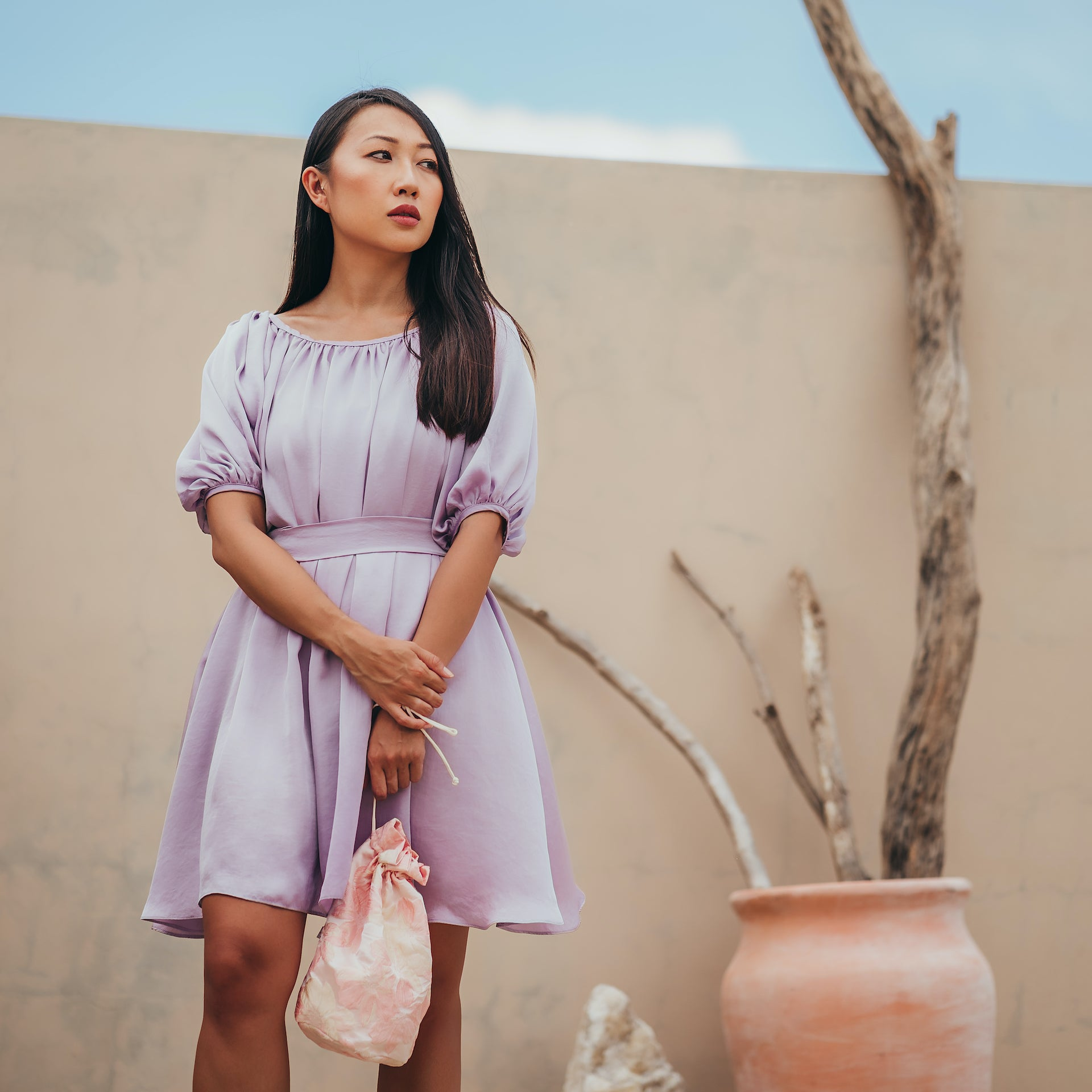 Carnelian ruched dress with puff sleeves in Lavender