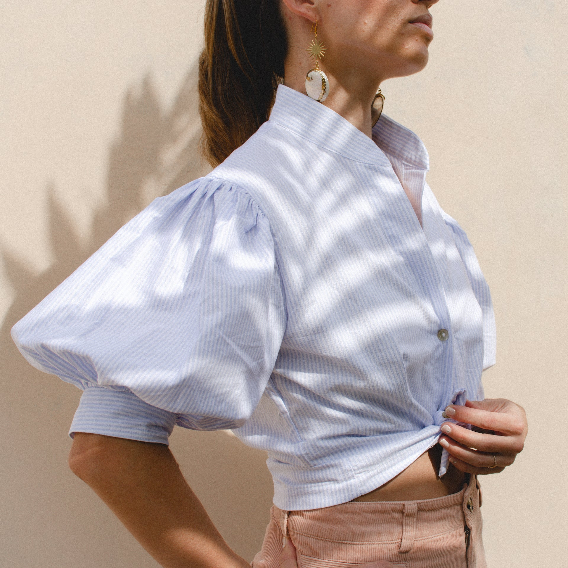 CELESTINE PUFF SLEEVE SHIRT IN BLUE AND WHITE STRIPES