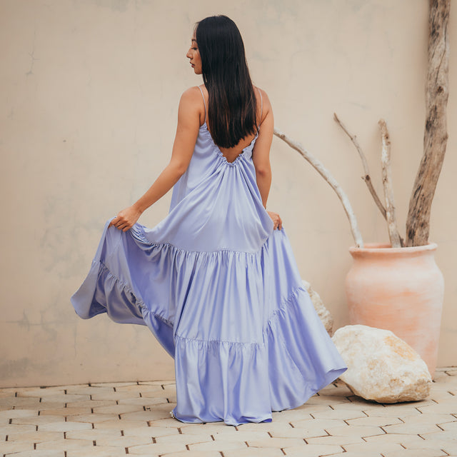 Dianthus tiered maxi open-back dress in lavender blue (PRE-ORDER)