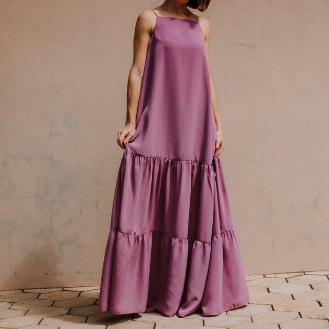 Dianthus tiered maxi open-back dress; Mauve, Pink & Pearl White