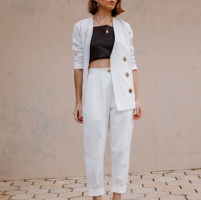 Clam high waisted trousers in white (PRE-ORDER)