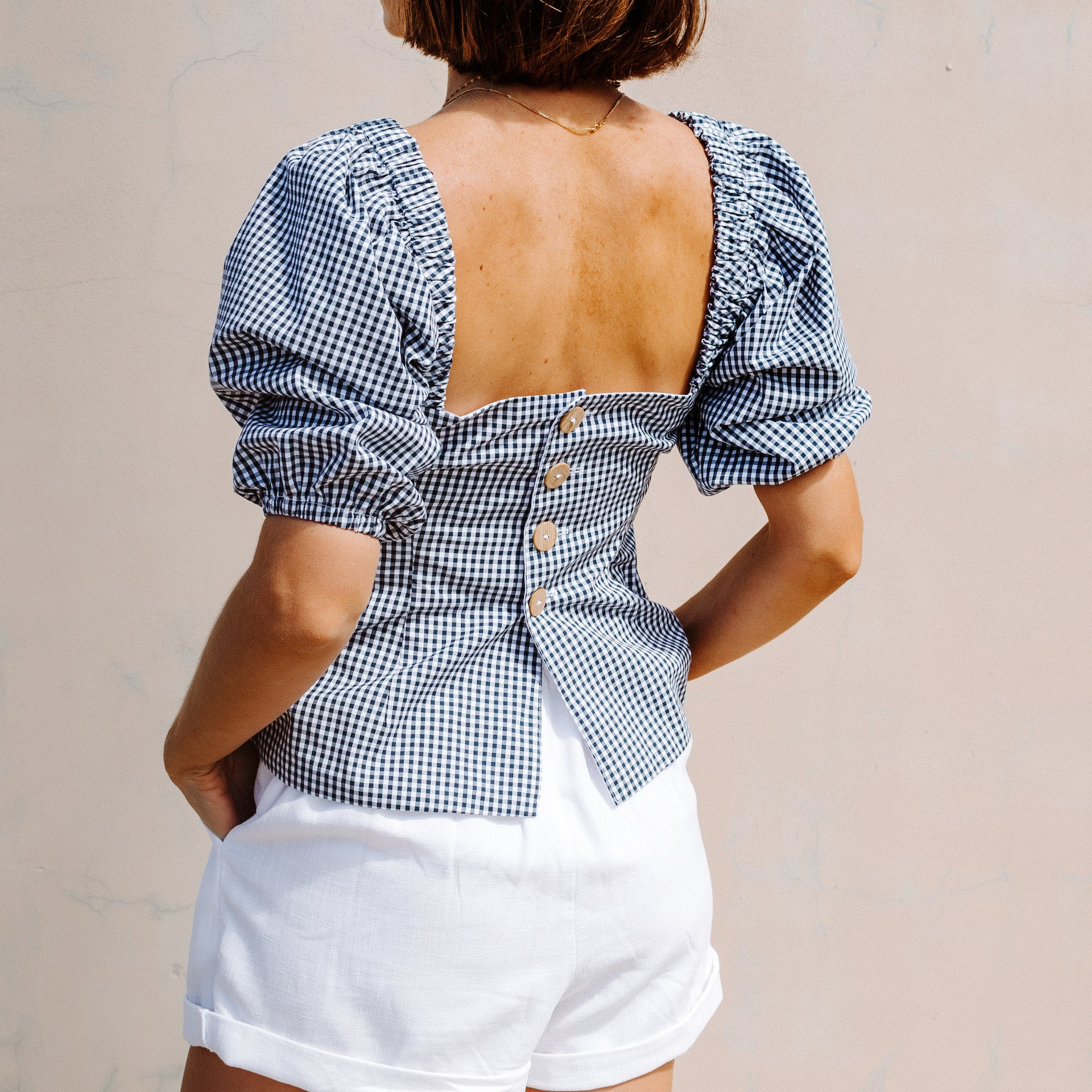 PUMICE PUFF SLEEVE TOP IN organic cotton gingham