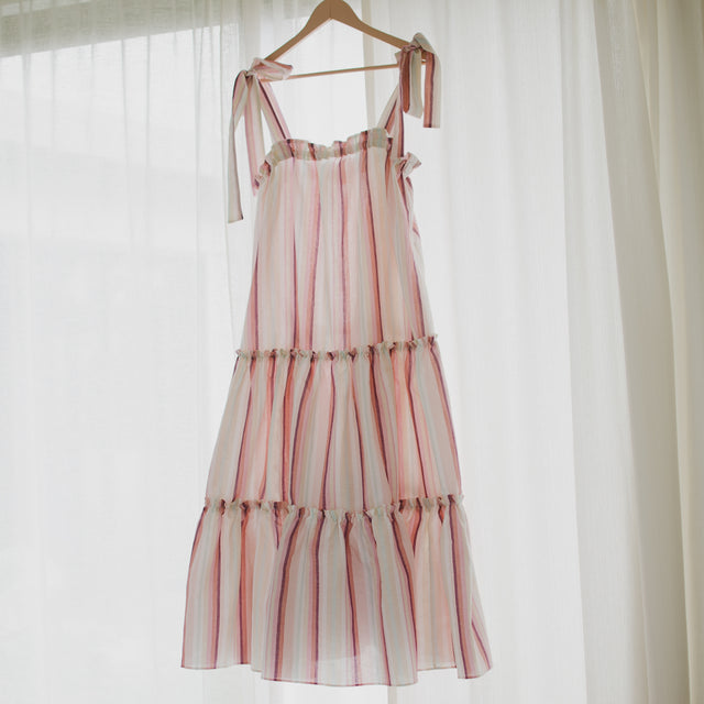 HAZEL tiered ankle length dress in striped