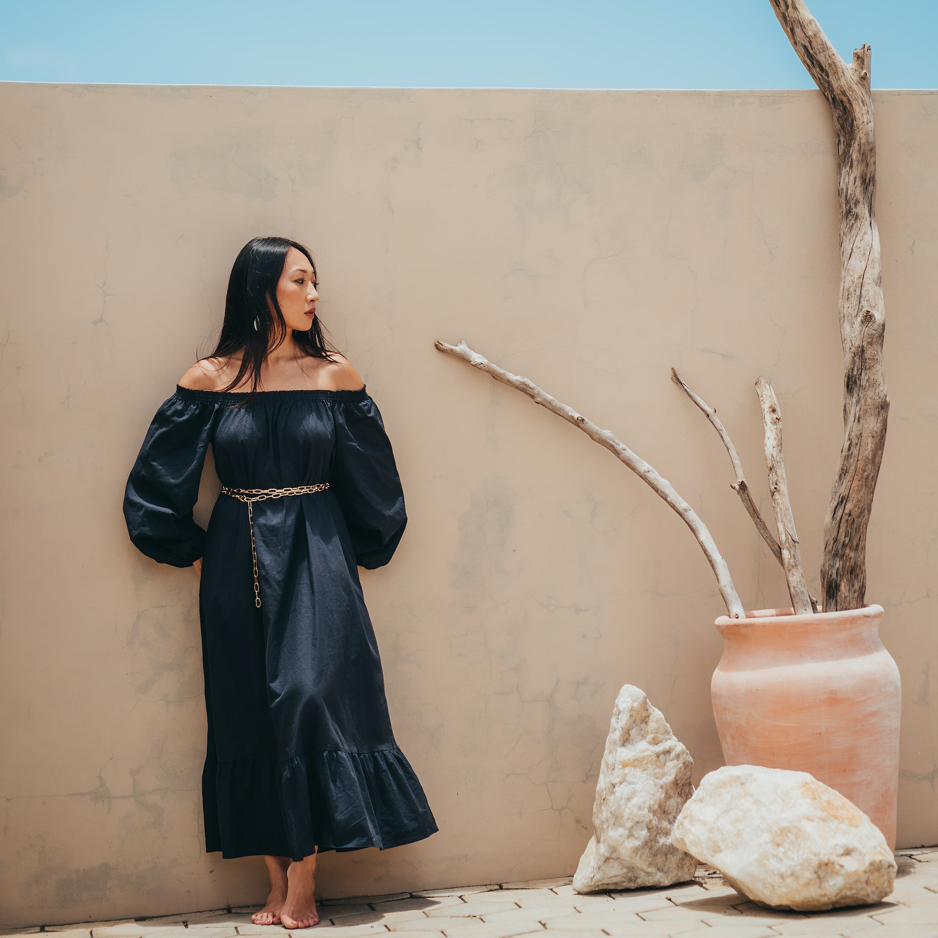 Jade Off the shoulder midi dress with puffed sleeves in black cotton