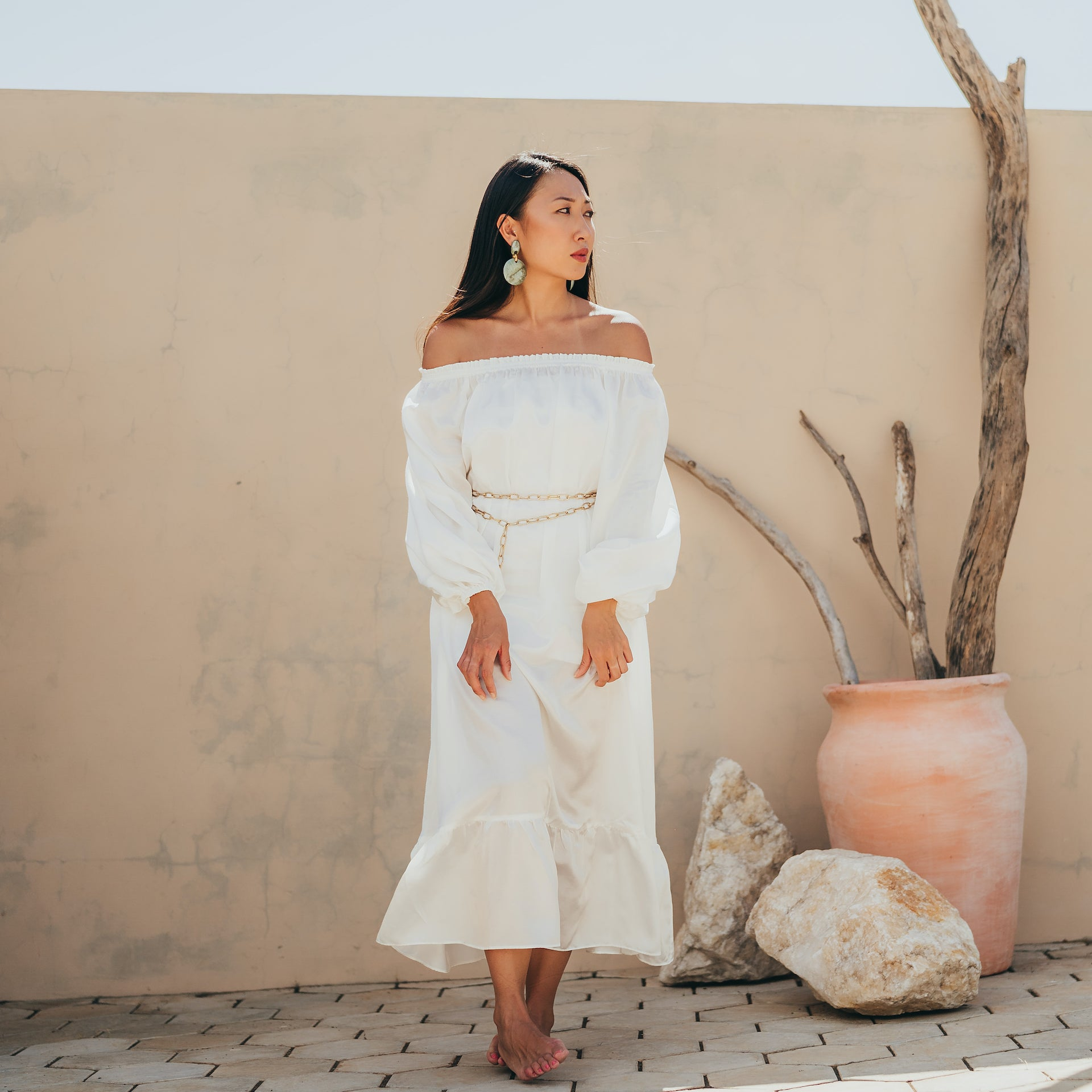 Jade off the shoulder midi dress with puffed sleeves in white satin