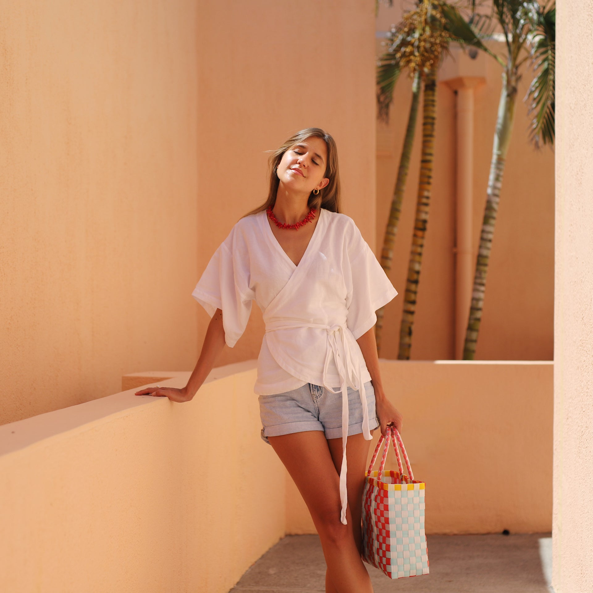 Liria wrap blouse in Off White