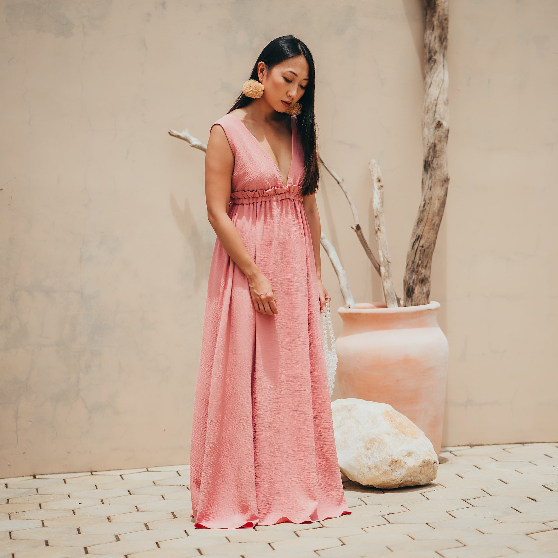 Lucine deep plunge, open back maxi dress in pink (PRE-ORDER)