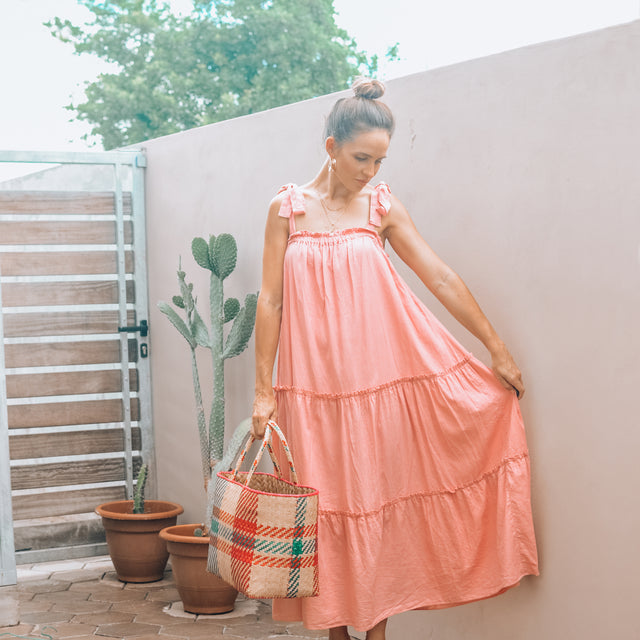 HAZEL tiered ankle length dress in pink