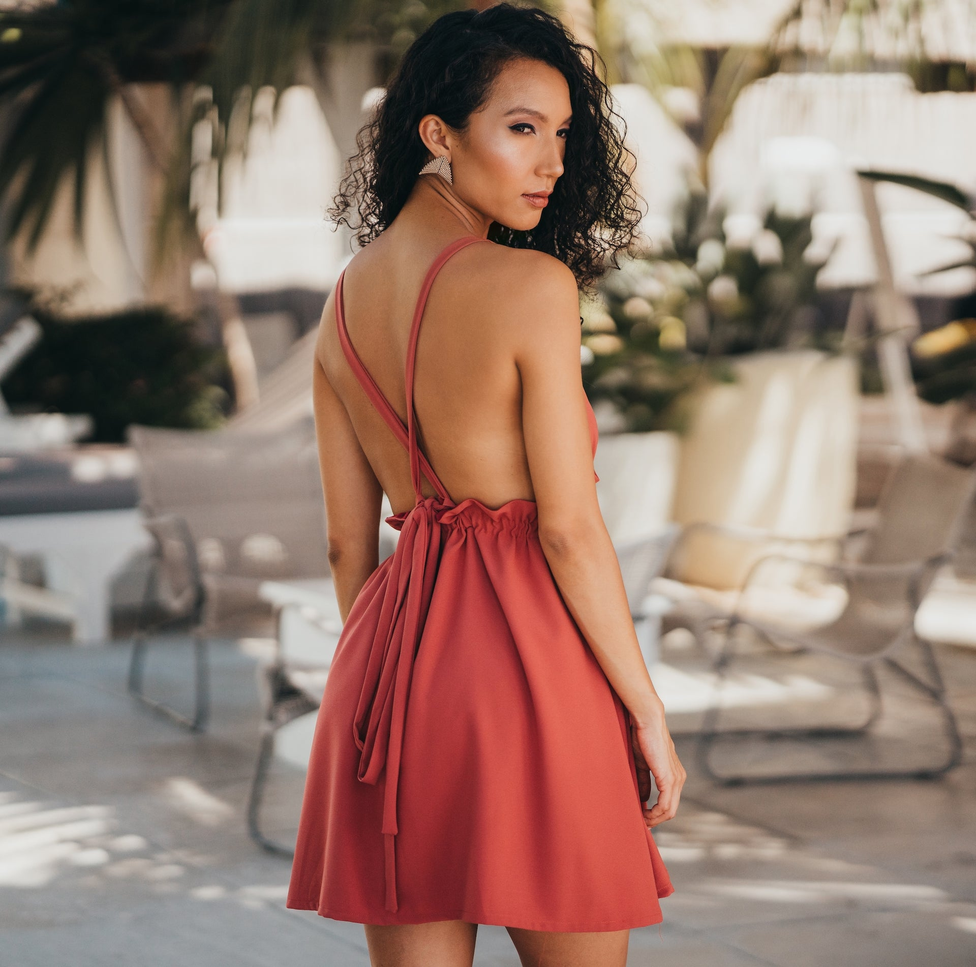 Obsidian deep plunge, backless mini dress
