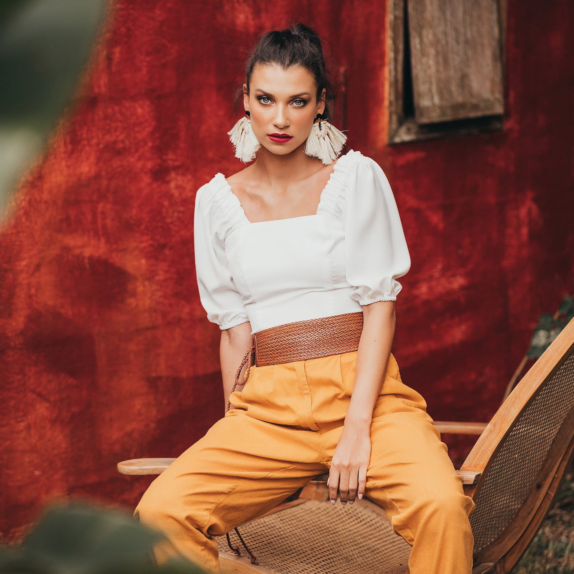 Clam high waisted trousers in mustard