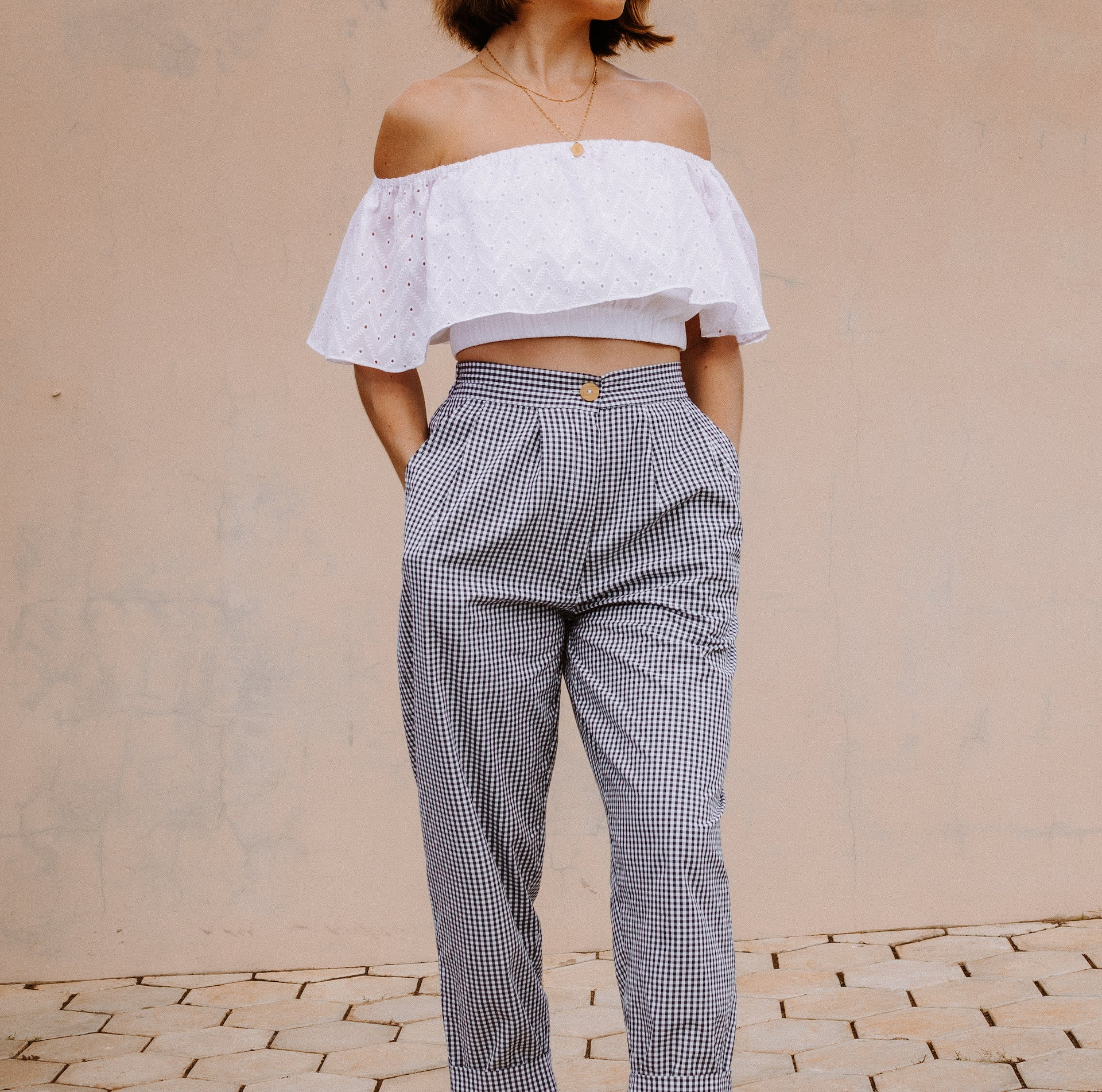 PALM off the shoulder crop top in white broderie anglaise