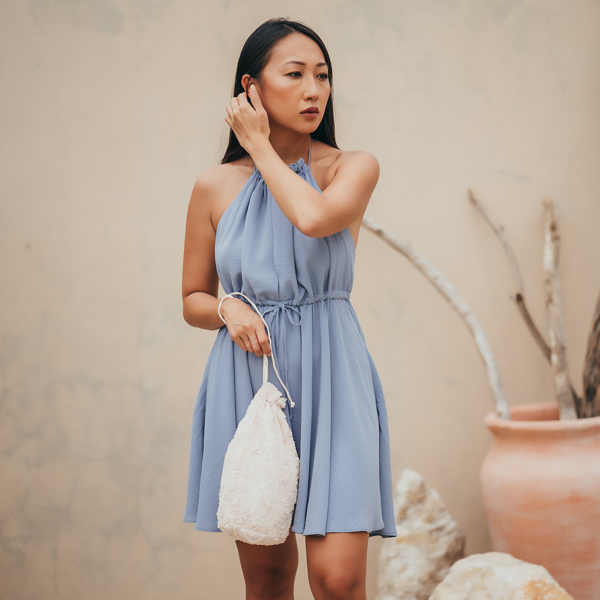 Selenite high-neck, open back dress in blue (PRE-ORDER)