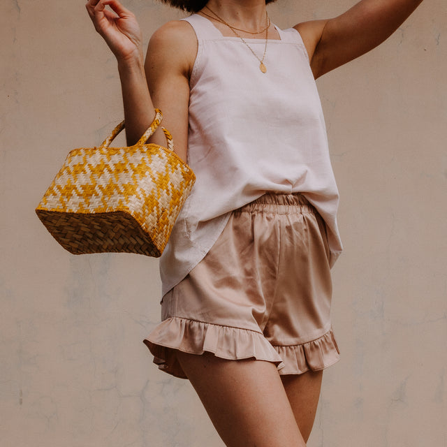 ROSEHIP FRILL SHORTS IN TAN SATIN (PRE-ORDER)