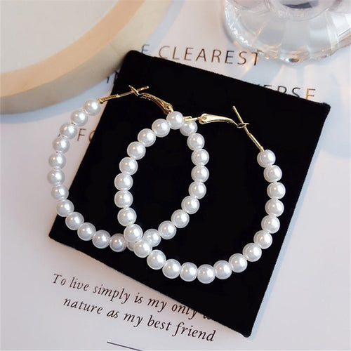 Elegant Pearl Hoop Earrings