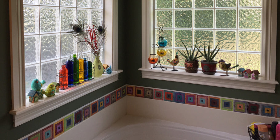 Cool Bathtub Makeover Using Ceramic Border Tiles Made with Cindy's Artwork!