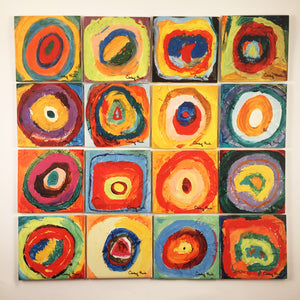 16 Tile Ceramic Mural - 16 Circles by Cindy Head