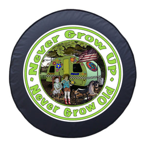 """Never Grow Up, Never Grow Old"" -  Spare Tire Cover by Steve Head"