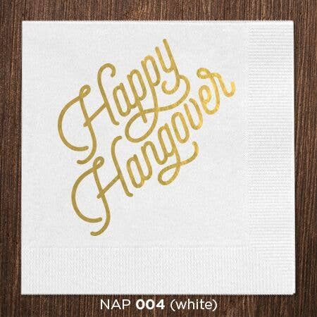 White Happy Hangover Napkins